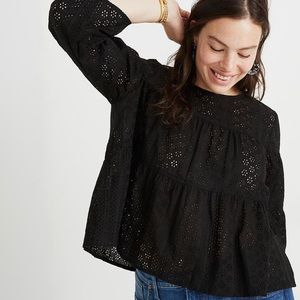 Madewell Eyelet Tiered Button-Back Top, Plus Size